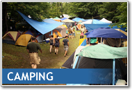 Button image of happy campers at Blue Skies that links to the Camping page